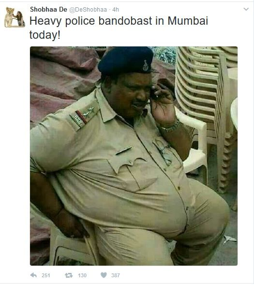 Mumbai Police shuts down Shobha De for posting picture of fat cop