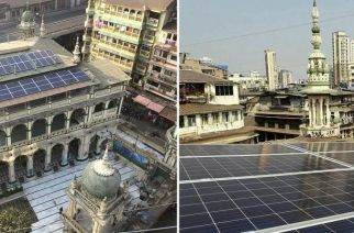 Solar panels on the roof of Minara Masjid. Picture Courtesy: Nayyar Islam