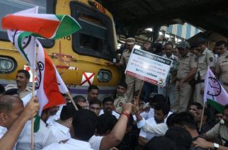Apart from Kalwa, NCP workers also held another protest at Jogeshwari station