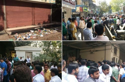 Shopkeepers shut their shops after the contractors dumped trash in front of their shops. Picture Courtesy: Shreyash Bubna