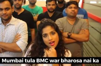 A still from the song in which the RJ criticizes the BMC for the sorry state of Mumbai during monsoon