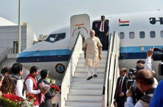 Prime Minister Narendra Modi arrives in Mumbai