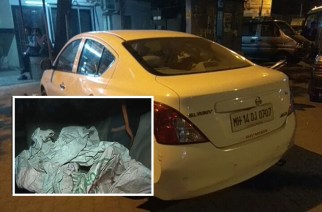 The Nissan Sunny in which the detainees were transporting Rs 10.10 crore (inset: gunny bag where the money was stored)