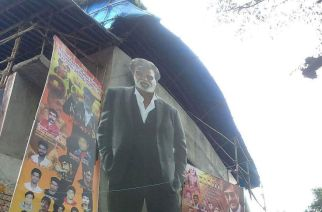 Rajnikanth's giant cutout outside Aurora Theater. Picture Courtesy: Rajini Balu