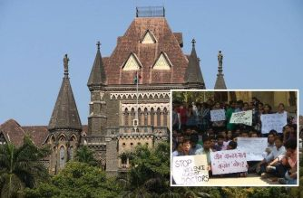 Bombay High Court (inset: doctor's protesting outside Sion Hospital)