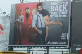A hoarding of the new Jack & Jones ad. Courtesy: Siddharth/Twitter