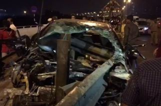 The state of the Honda City following the accident