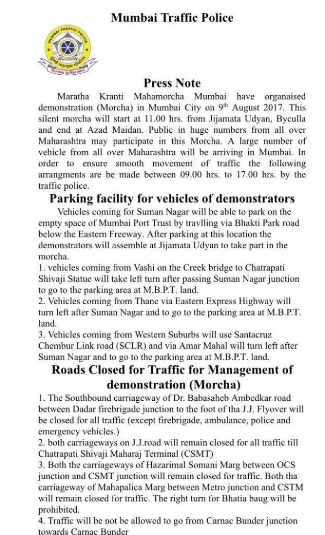 Traffic and security arrangements for tomorrow's Maratha Kranti Morcha' in Mumbai 1