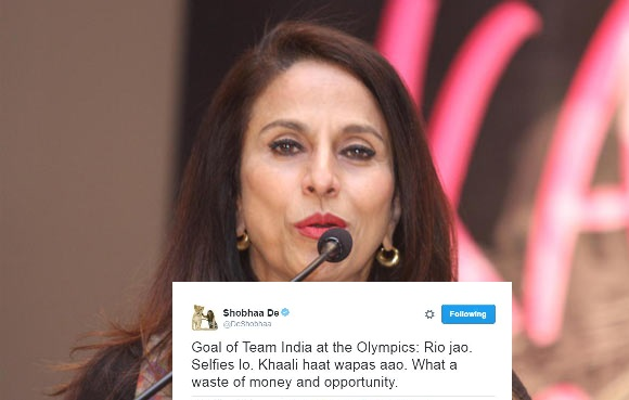 Twitterati lash out at Shobha De for her controversial 'Rio jao, Selfies lo' tweet 1