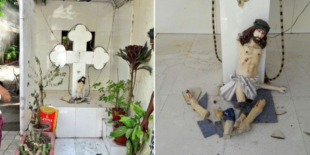Unknown miscreant vandalizes Jesus Christ statue in Juhu, locals furious