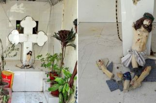 The statue of Jesus Christ on a cross that was vandalized