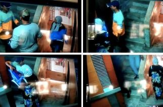 The five men entered the house while the woman kept a watch outside (screengrabs from the video)
