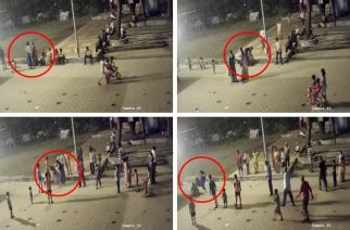 The cop assaulted the woman for objecting to her dress (screengrabs from the CCTV footage)