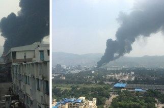 The smoke from the chemical factory fire could be seen from a distance of a few kilometres (MIDC, Turbhe fire. Picture Courtesy: Nagaraj GN, Harsh)