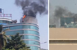 The cause of fire is not known (Reliable Tech Park, Picture Courtesy: Abhishek T, Aditya Sathe‏)