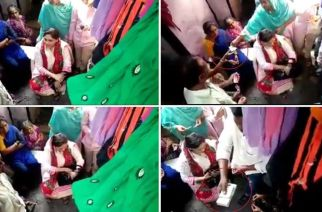 Screengrabs from the video in which Ayesha Shaikh can be seen distributing cash to locals in Govandi