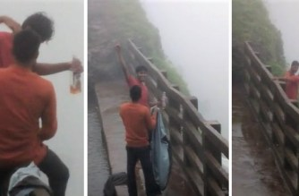 Cops are yet to recover the bodies of Imran Garadi and Pratap Rathod from the valley (Screengrabs from the video, courtesy: newscrunch.in)