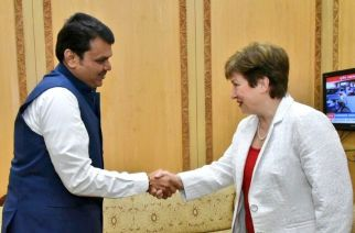 Maharashtra Chief Minister  Devendra Fadnavis and World Bank CEO Kristalina Georgieva