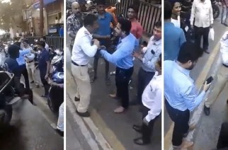 The incident took place today evening at Damania Estate on LBS Marg (screengrabs from the video)