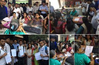 Yuve Sena members in principal Swati Deshpande's office