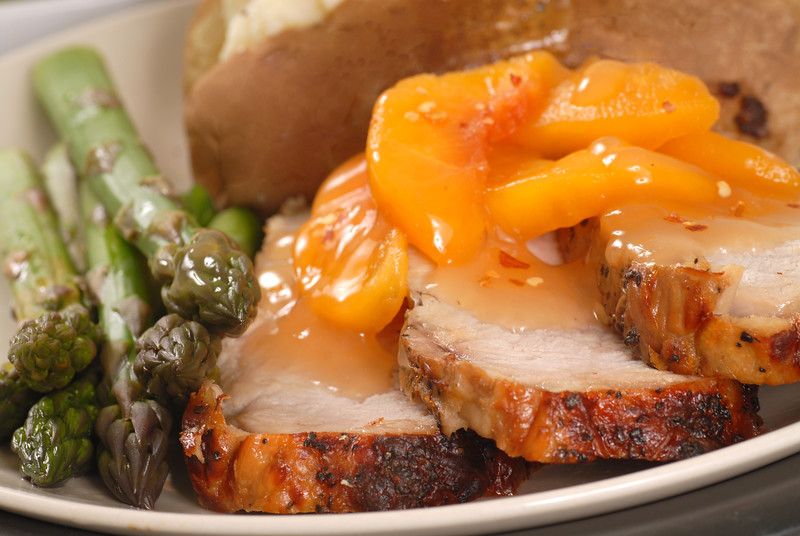 Pork loin peaches asparagus-L
