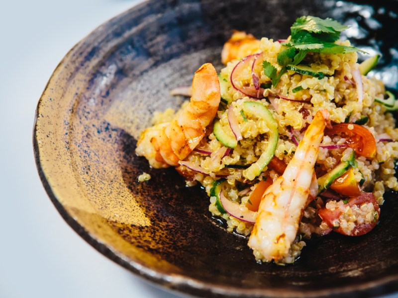 Grilled Shrimp, quinoa salad, recipe Plano Profile