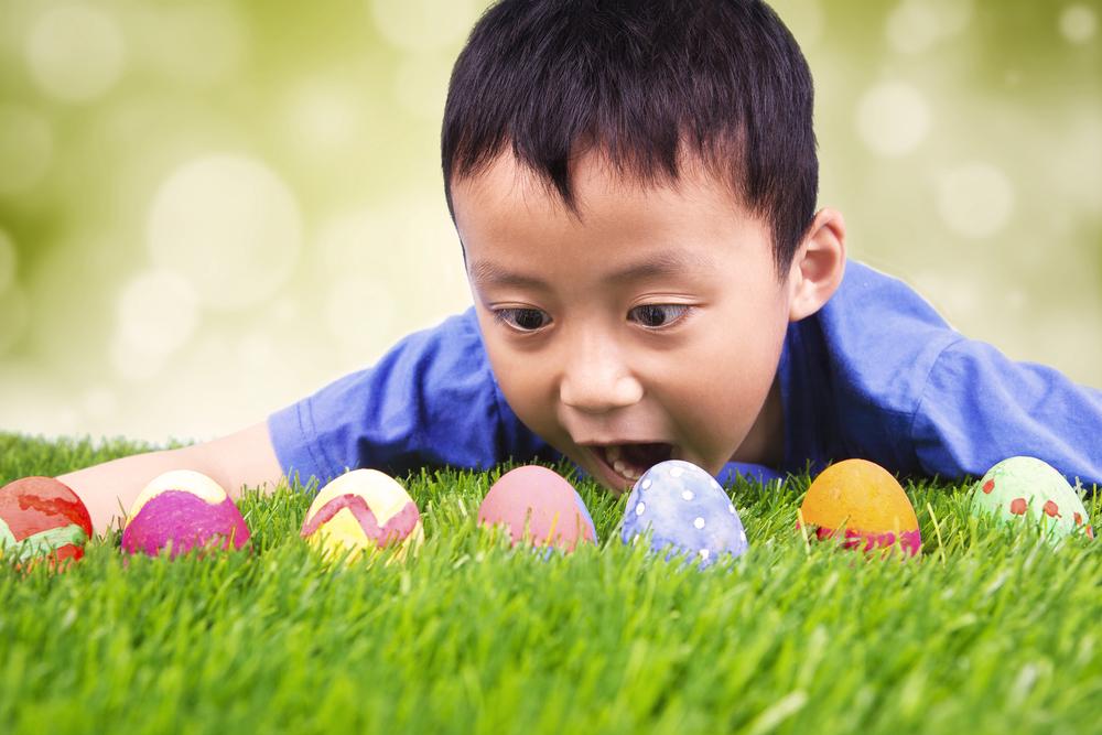 egg hunt easter boy multicultural