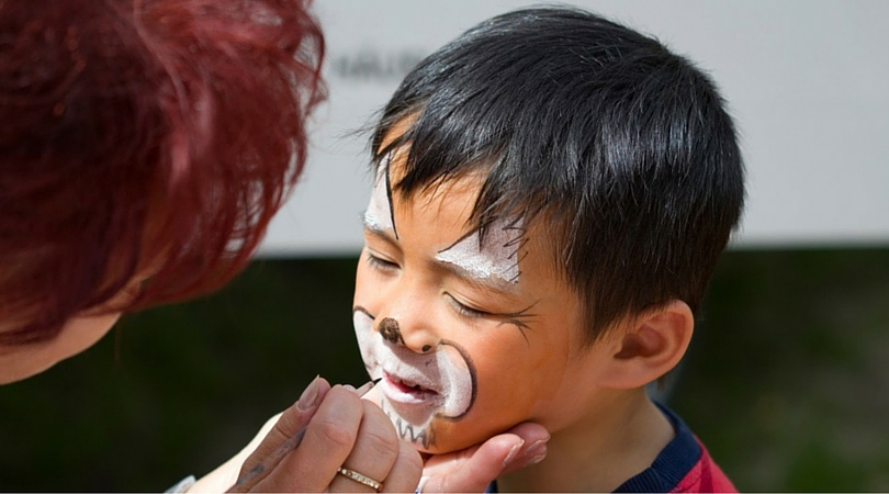 face painting, summer fun in plano, shops of legacy, child with face painted