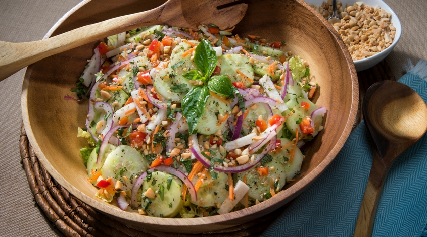 Thai-Style Cucumber Salad with Roasted Peanuts