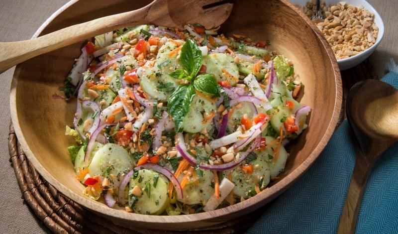 thai-style cucumber salad with roasted peanuts
