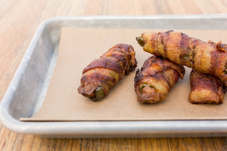bacon-wrapped jalapeños at carlton provisions at the box garden at legacy hall, legacy west