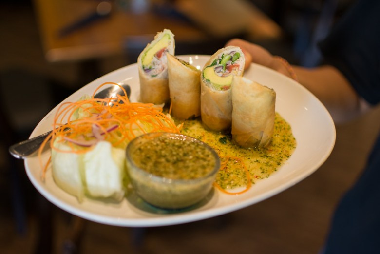 vegetarian eggrolls at mango thai. image by brandon hurd for plano profile