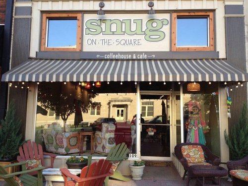 the front of snug on the square. it's got one of the cutest mckinney patios! | courtesy of snug on the square's website