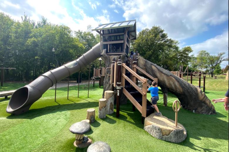beard park, little elm, woodland theme playground