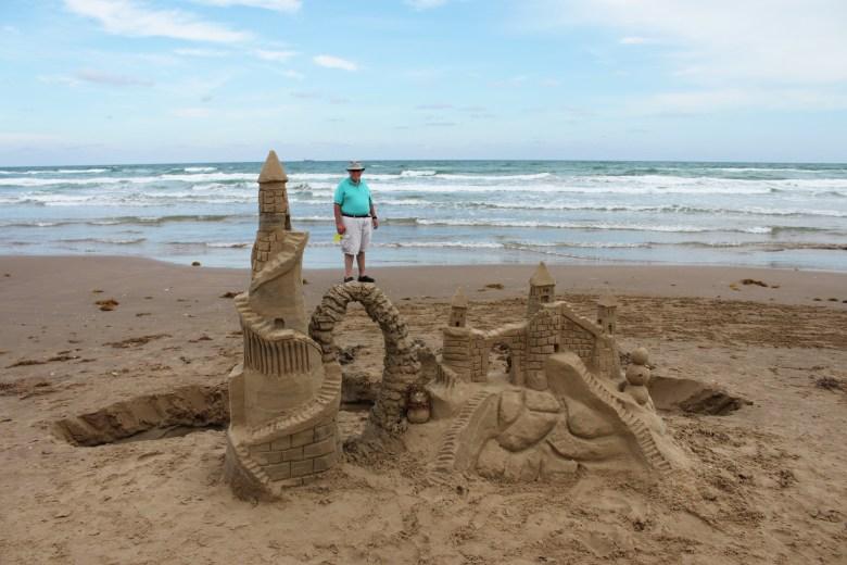 sandcastle art on the beach at south padre island, texas coast   best weekend getaways in texas