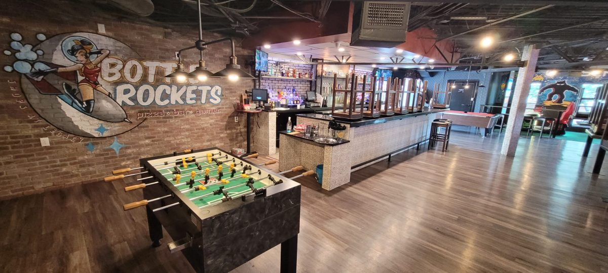 bottle rockets bar in the shops at legacy features fun and games for adults.