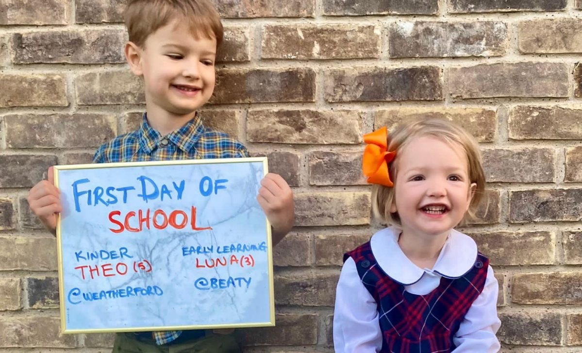 do back to school photos get any better than this one of theo and luna?