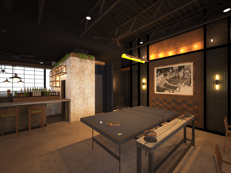 this rendering of loop ping pong's back room on the second floor will soon include garage doors that lead to an outdoor patio and bar.