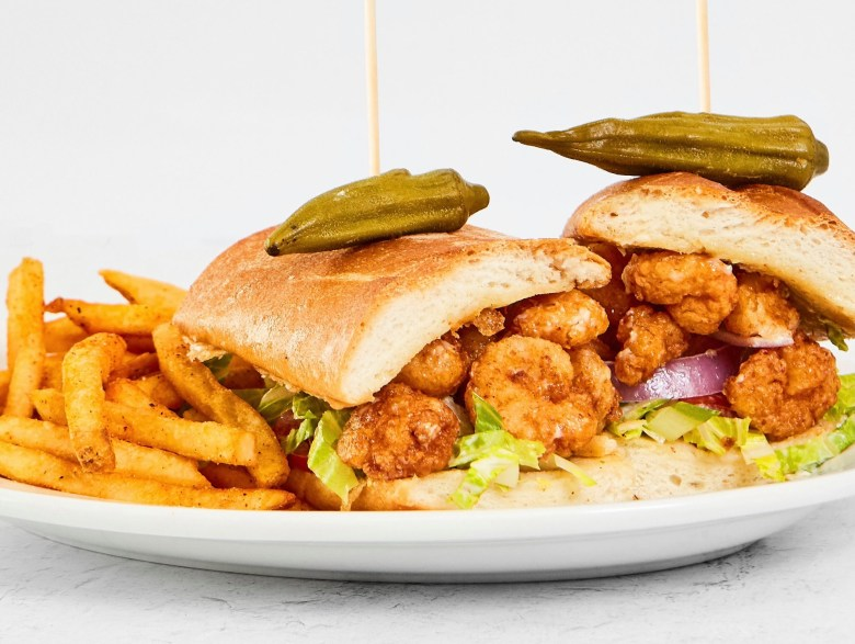 shrimp po'boys at half shells oyster bar and grill.   courtesy of the half shells - legacy facebook page.