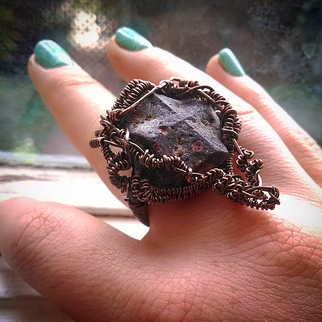 jewlery ring hand-made wire wrapped