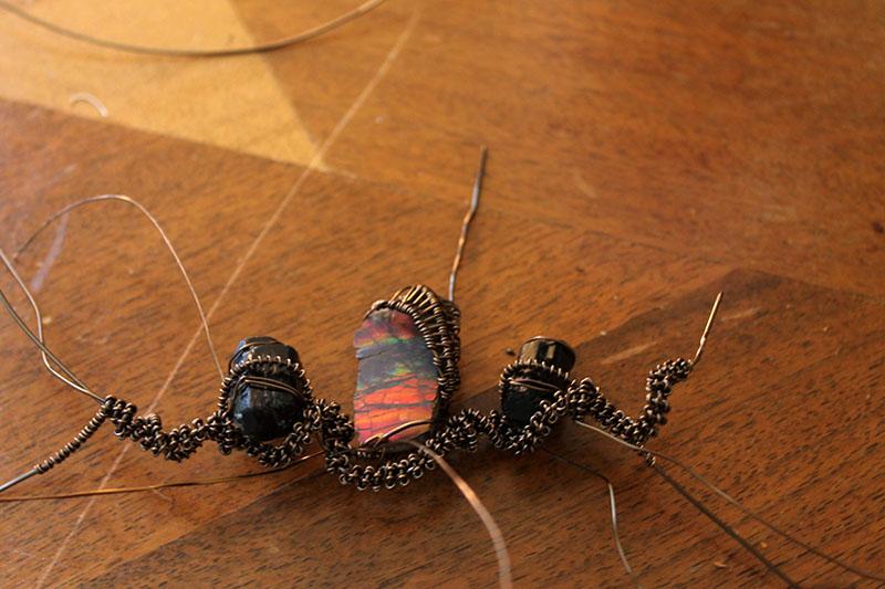 wire wrap, mineral patterns, art, local, santa cruz