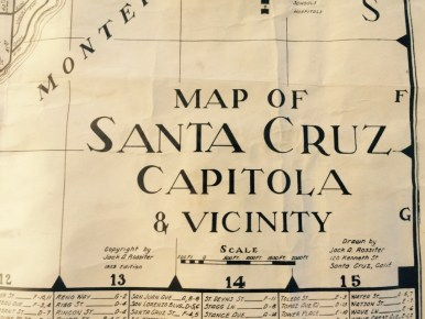 Vintage map of Santa Cruz Capitola Aptos