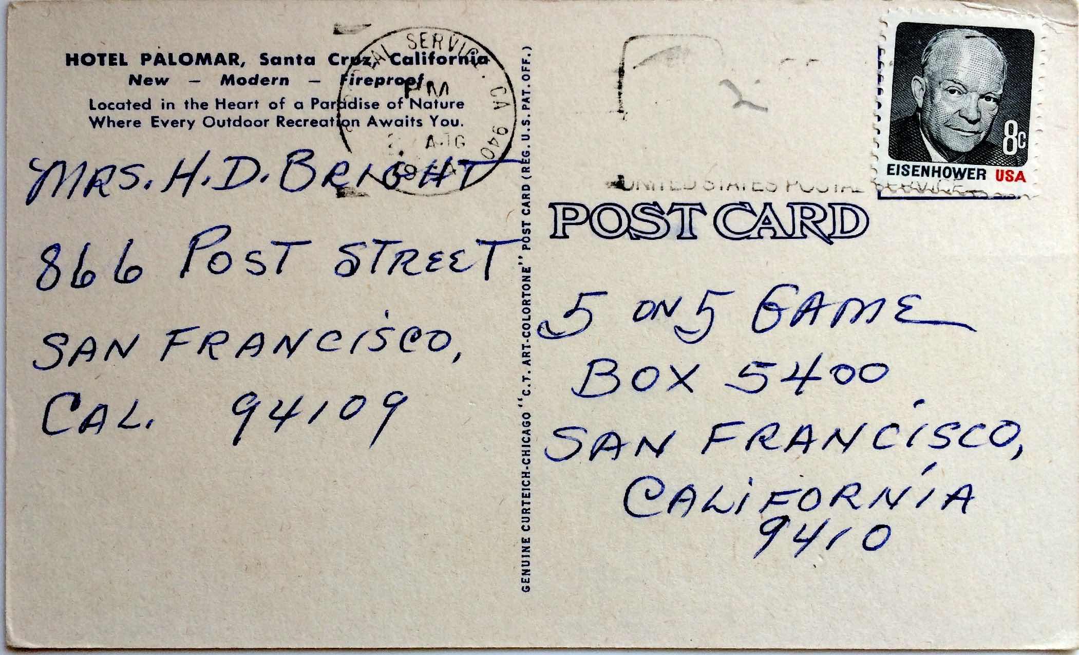 Palomar Santa Cruz post card back-page-1
