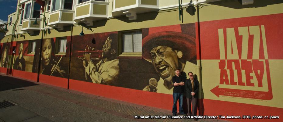 Jazz Alley mural in Birch Lane, painted by Santa Cruz artist Marvin Plummer,.