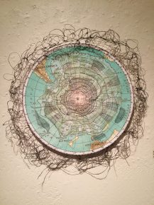 """Climate Change"" by Susan Zimmerman. Fiber: stitched paper and thread. 2nd Place Winner."
