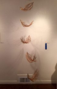 """Feathers"" by Claire R. Lynch. Copper and brass wire. 1st Place Winner."