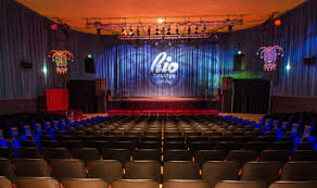 The Rio is a multipurpose venue providing a movie screen, stage, and orchestra pit.