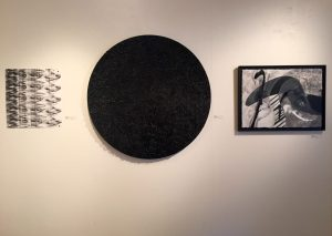 """Quwaver"" by Rachel Dwan, ink on paper; ""Pontalba Lagniappe"" by Brian Huber, acrylic; ""La Negra 3"" by Brenda Welsh, acrylic with collage on paper."