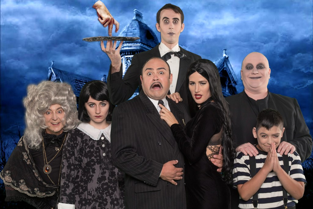 The Addams Family: Deborah McArthur (Grandma), Gabrielle Filloux (Wednesday), Adam Saucedo (Gomez) Danielle Crook (Morticia), John G. Bridges (Uncle Fester), Michael Navarro (Pugsley) & far back David Murphy (Lurch)