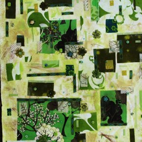 Kerri Linden - Green Fabric Mixed Media Collage / Acrylics